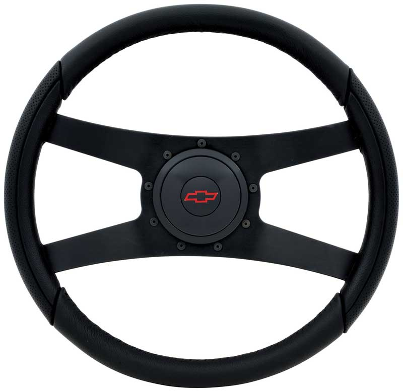 Chrome /& Red Steering Wheel for Flaming River Ididit Steering Column 14