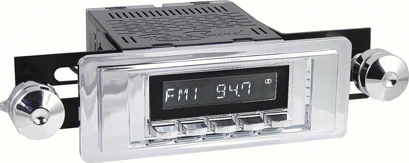 1955-1956 All Makes All Models Parts | *RL5556C | 1955-56 Chevy Fullsize  Long Beach Radio w/SiriusXM - Chrome Radio, Buttons, Bezel & Knobs |  Classic