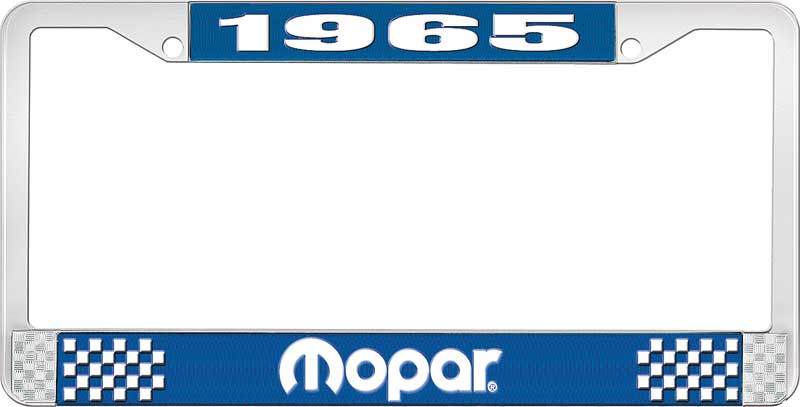 1965 Plymouth Barracuda Parts | *LF121065B | 1965 Mopar License Plate Frame  - Blue and Chrome with White Lettering | Classic Industries