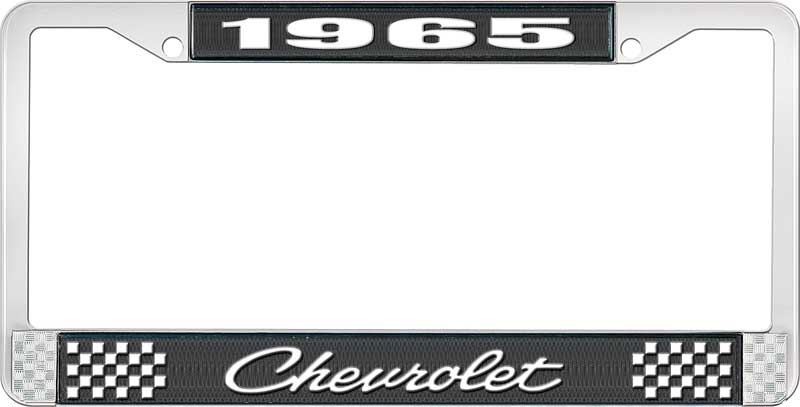 Set of 2 White Script 1965 Chevy Chrome License Plate Frame with Bowtie Blue