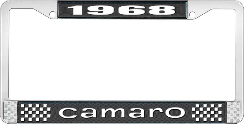 1968 camaro license plate frame style 1 with black background and bright white lettering
