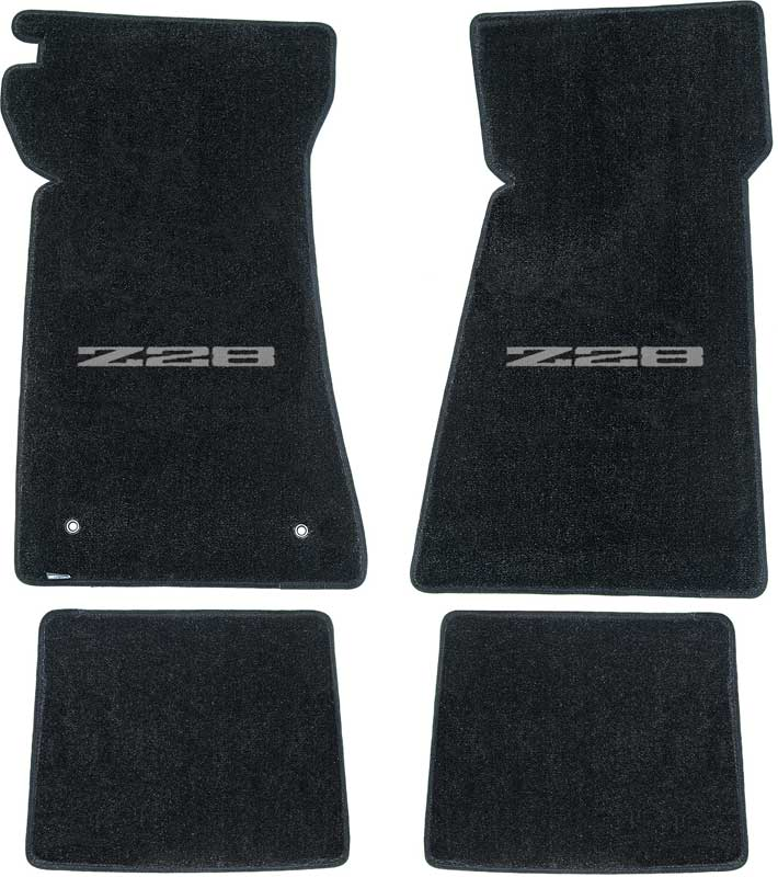 1979 Chevrolet Camaro Parts | LM2050SV | 1979 Camaro Z28 Black Floor Mat  Set With Silver Embroidered Z28 Logo | Classic Industries