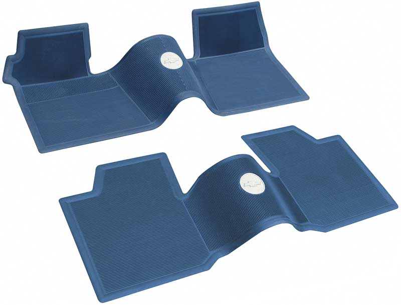 1964 Chevrolet Impala Parts   M61012   1961-64 Chevrolet Without Console  Dark Blue 2 Piece Front And Rear Rubber Floor Mat Set   Classic Industries