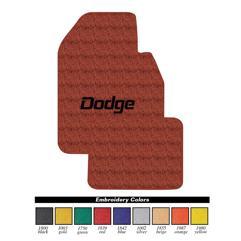 New Black Carpet Floor Mats 1967-1976 Dodge Dart Swinger Logo Red Set 4