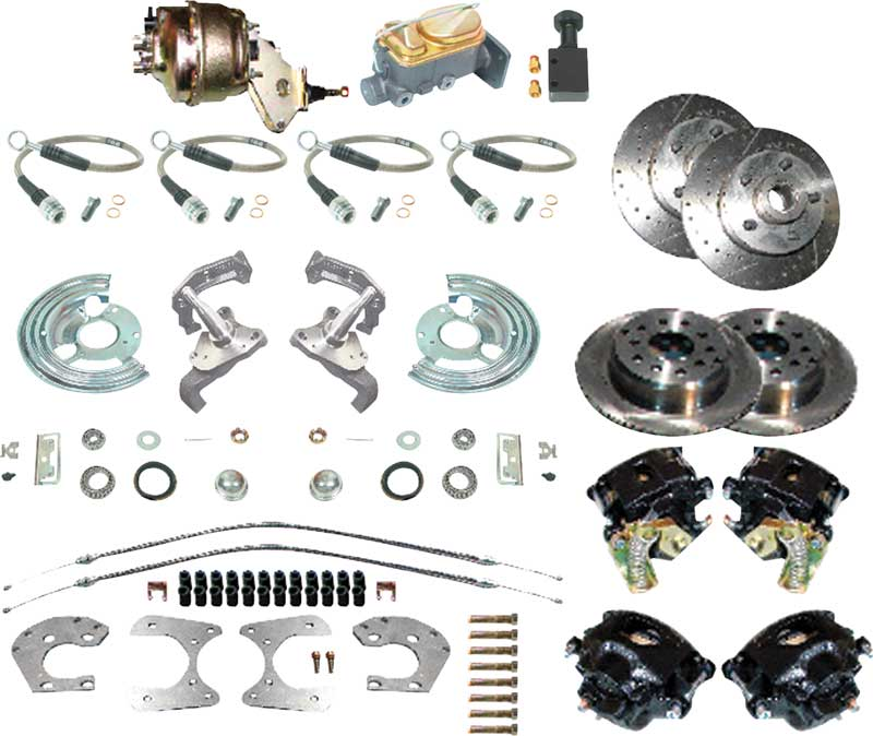 1960-1976 All Makes All Models Parts | MD7696 | 1960-76 Mopar A-Body 4  Wheel Power Disc Brake Conversion Set with 11 Drilled and Slotted Rotors |