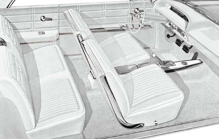 1963 All Makes All Models Parts   P10763110   1963 Impala SS Convertible  With Front Bucket Seats White Vinyl Upholstery Set   Classic Industries