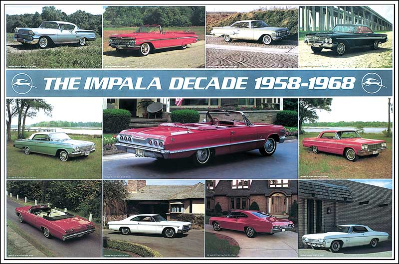 All Makes All Models Parts   P2001   1958-68 Impala Poster   Classic  Industries