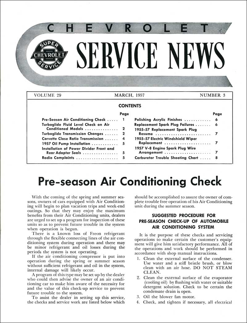 1957 All Makes All Models Parts | TF250049 | 1957 General Motors Service  News - pre-Season Air Conditioning Check | Classic Industries