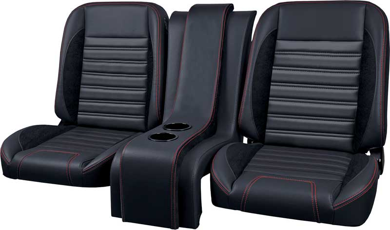 Tmi Pro Series Sport R Black Vinyl Suede Bolster Accents Red Sching Low Back Bucket Seats