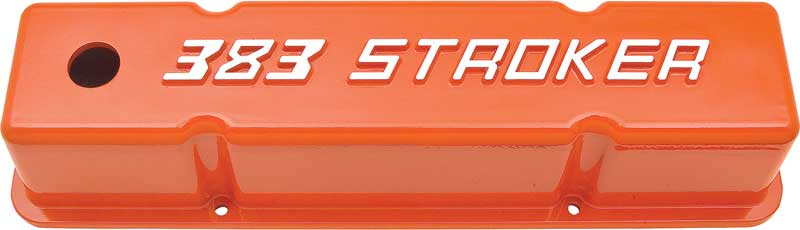 1930-2016 All Makes All Models Parts   VC9005   Chevrolet 383 Stroker Small  Block Orange Tall Valve Covers   Classic Industries