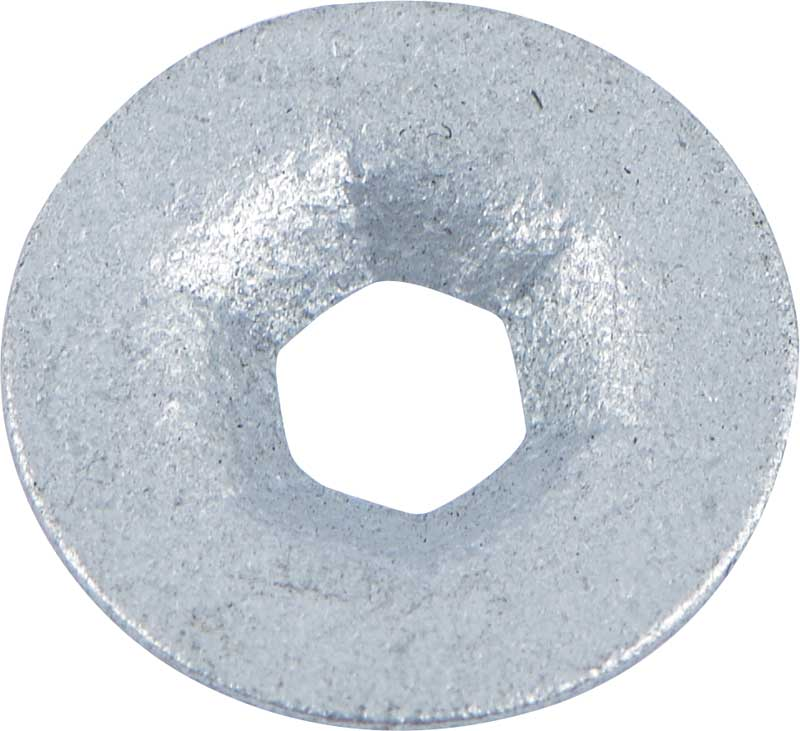 Round Push On Flat Nut, Fits 1/8 Stud Size, Zinc Plated