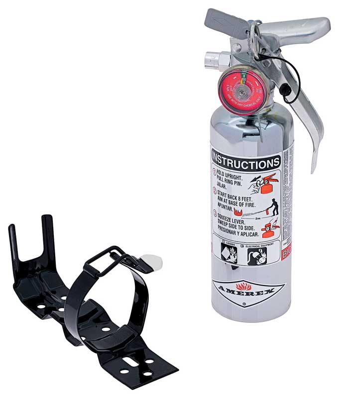 Small 1 Pound Chrome Fire Extinguisher