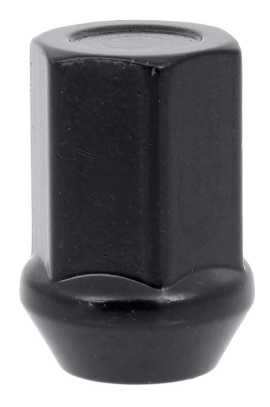 M12-1.50 Lug Nut Flat Top Capped - 19mm Hex Head, 32.5mm Length - Black - Set Of 10