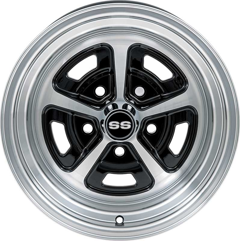 1955-81 GM cars - Legendary Magnum 500 Alloy Wheel - 15 x 7 Gloss Black with Machined Finish