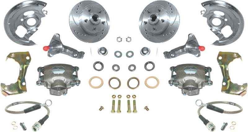 1967-74 Basic Front Disc Brake ConversionSet with Standard Spindles and 11 Drilled & Slotted Rotors