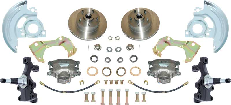 1967-74 Basic Front Disc Brake ConversionSet with 2 Drop Spindles and 11 Plain Rotors