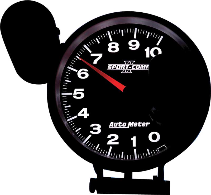 Auto Meter Sport Comp II Series 5 10,000 RPM Pedestal Mount Tachometer with Amber Shift Light