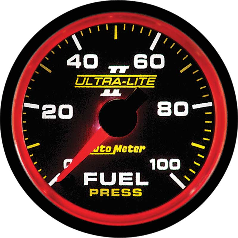 Auto Meter Ultra-Lite II Series 2-1/16 0-100 PSI Electric Full-Sweep Fuel Pressure Gauge