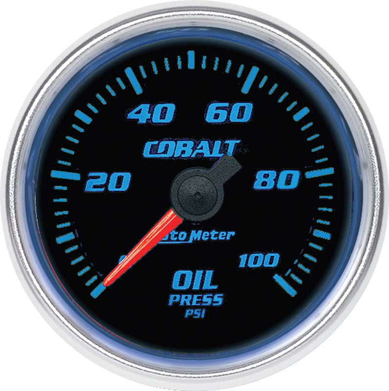 Auto Meter Cobalt Series 2-1/16 Full Sweep 0-100 PSI Electric Oil Pressure Gauge