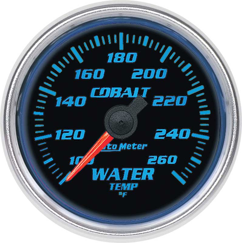 Auto Meter Cobalt Series 2-1/16 100º-260º F Full Sweep Electric Water Temperature Gauge
