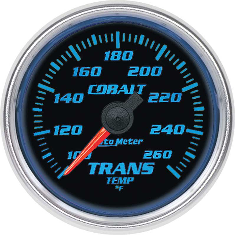 Auto Meter Cobalt Series 2-1/16 100º-260º F Electric Full Sweep Transmission Temperature Gauge