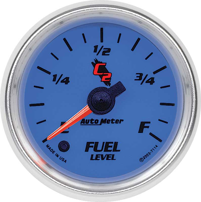 Auto Meter C2 Series 2-1/16 0-280 OHM Electric Full-Sweep Programmable Fuel Level Gauge