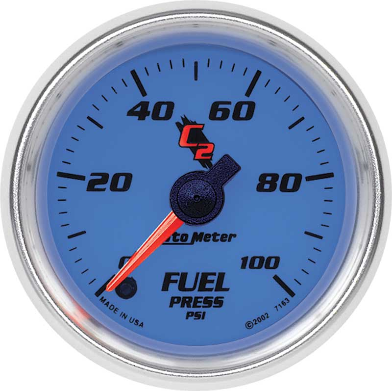 Auto Meter C2 Series 2-1/16 0-100 PSI Electric Full-Sweep Fuel Pressure Gauge