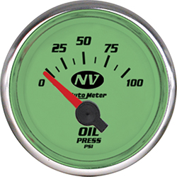 Auto Meter NV Series 2-1/16 0-100 PSI Electric Short Sweep Oil Pressure Gauge