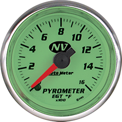 Auto Meter NV Series 2-1/16 Full Sweep 0-1600º F Electric EGT Pyrometer Gauge