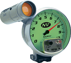 Auto Meter NV Series 5 10,000 RPM Pedestal Mount Tachometer with Amber Shift Light