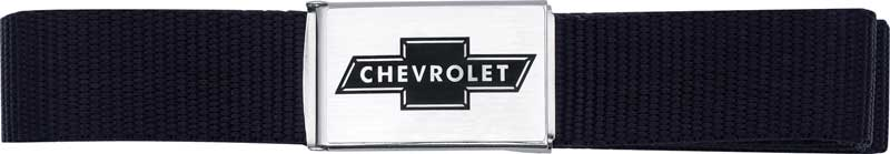 Chevrolet Bowtie Flip-Latch Seat Belt Trouser Belt (Black)