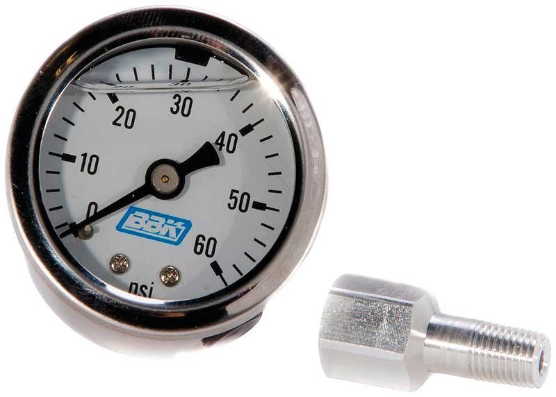 1986-93 Mustang 5.0L 0-60PSI Liquid Filled Fuel Pressure Gauge and Adapter