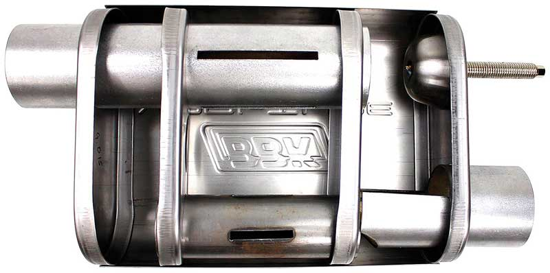 BBK Varitune Adjustable Stainless Steel Muffler with 2-3/4 Offset Inlet/ Offset Outlet