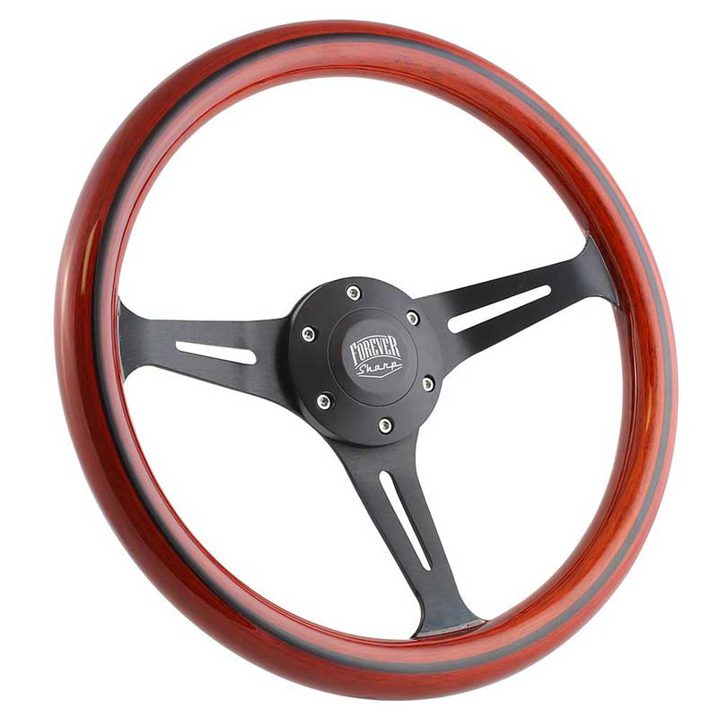 Forever Sharp 14 6 Bolt Empire Wood Wheel - Black Spokes- Light Mahogany Wood with Black Stripe