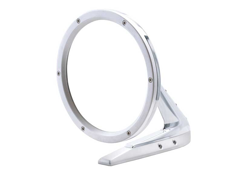 1960-74 GM Round Door Mirror With Fasteners On Leading Edge - Brushed