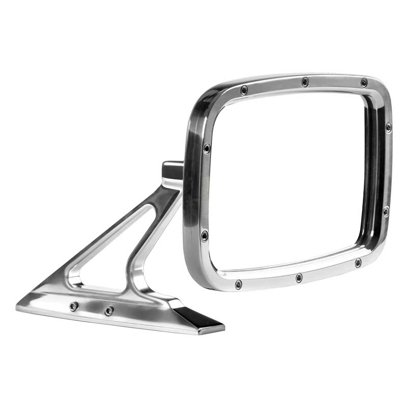 1960-74 Muscle Car Rectangular Door Mirror With Fasteners On Leading Edge - Polished