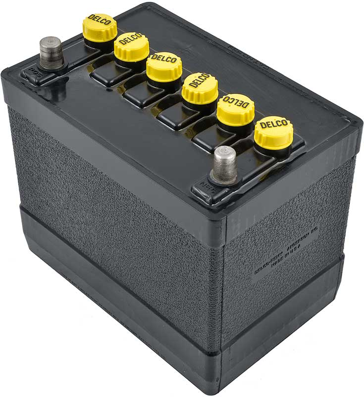 1962-63 Delco 780Cca 12V Maintenance-Free Top Post Battery With Yellow Caps / Black Lettering