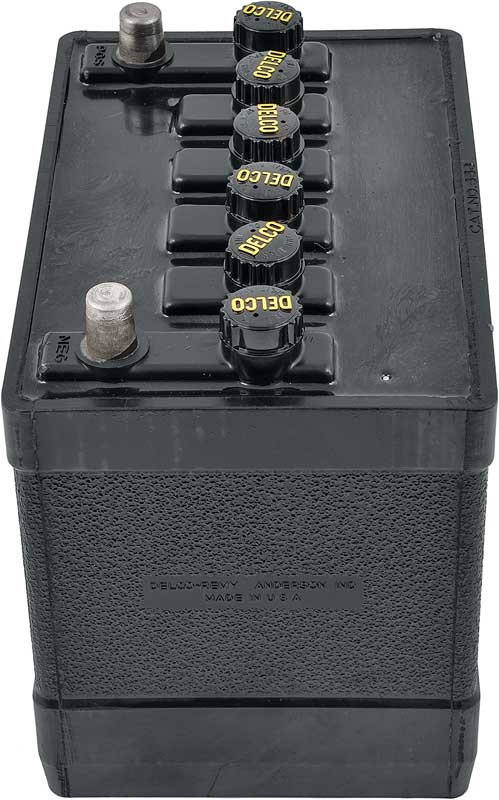 1963-65 Delco 780Cca 12 Volt Maintenance-Free Top Post Battery With Black Caps / Yellow Lettering