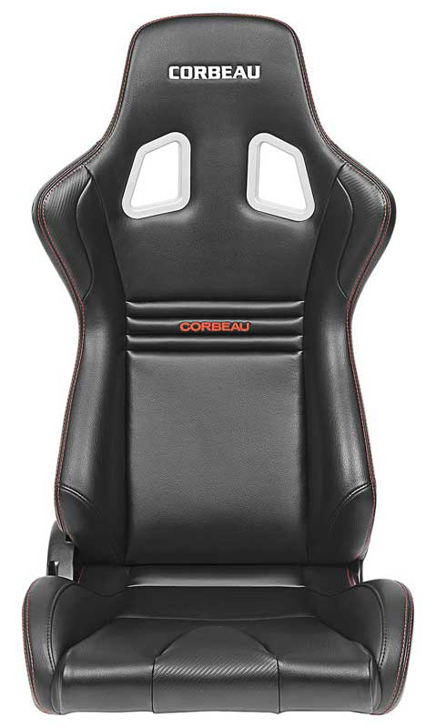 Corbeau Evolution Reclining Racing Seat - Black and Carbon Vinyl with Red Stitching