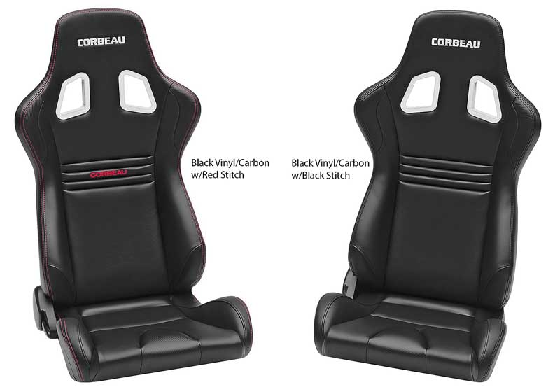 Corbeau Evolution Reclining Racing Seat - Black & Carbon Vinyl w/Red Stitching