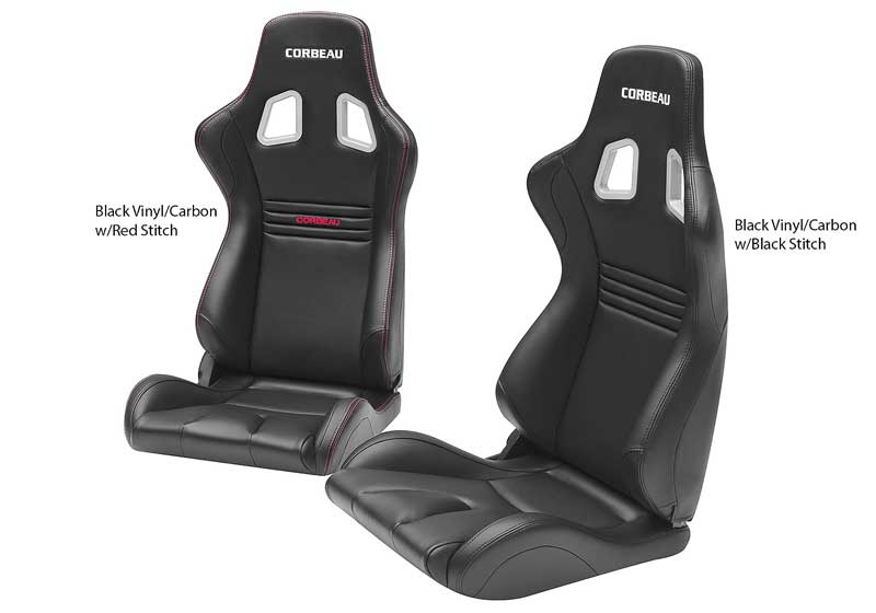 Corbeau Evolution X Fixed Back Racing Seat - Black and Carbon Vinyl with Black Stitching
