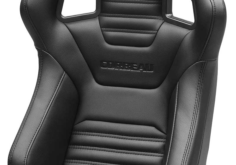 Corbeau Sportline RRS Reclining Racing Seat - Black Vinyl with Carbon Vinyl on Rear