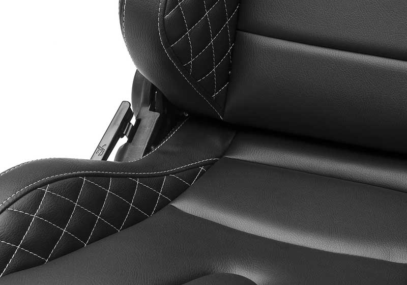 Corbeau Sportline RRS Reclining Racing Seat - Black Vinyl with White Diamond Stitch