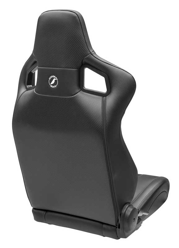 Corbeau Sportline RRS Reclining Racing Seat - Black Vinyl with Black Diamond Stitch