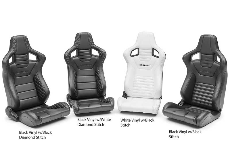 Corbeau Sportline RRS Reclining Racing Seat - White Vinyl with Black Stitch