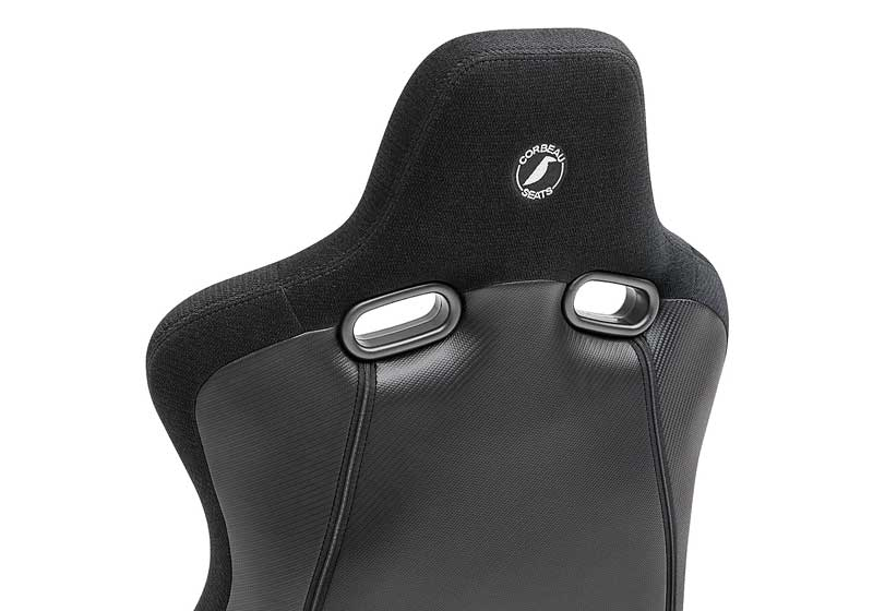 Corbeau Sportline RRB Reclining Racing Seat - Black Cloth with Carbon Vinyl