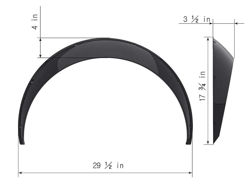 Clinched Classic Style 3.5 Wide Universal Fender Flares - Pair