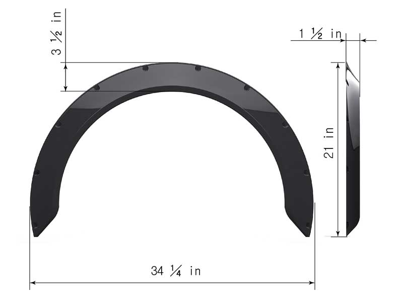 Clinched New School Style 1.6 Wide Universal Fender Flares - Pair