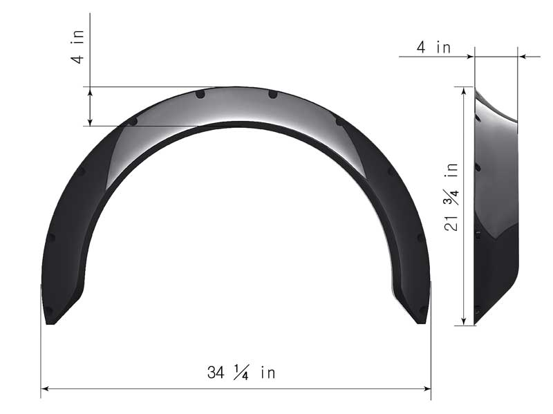 Clinched New School Style 3.9 Wide Universal Fender Flares - Pair