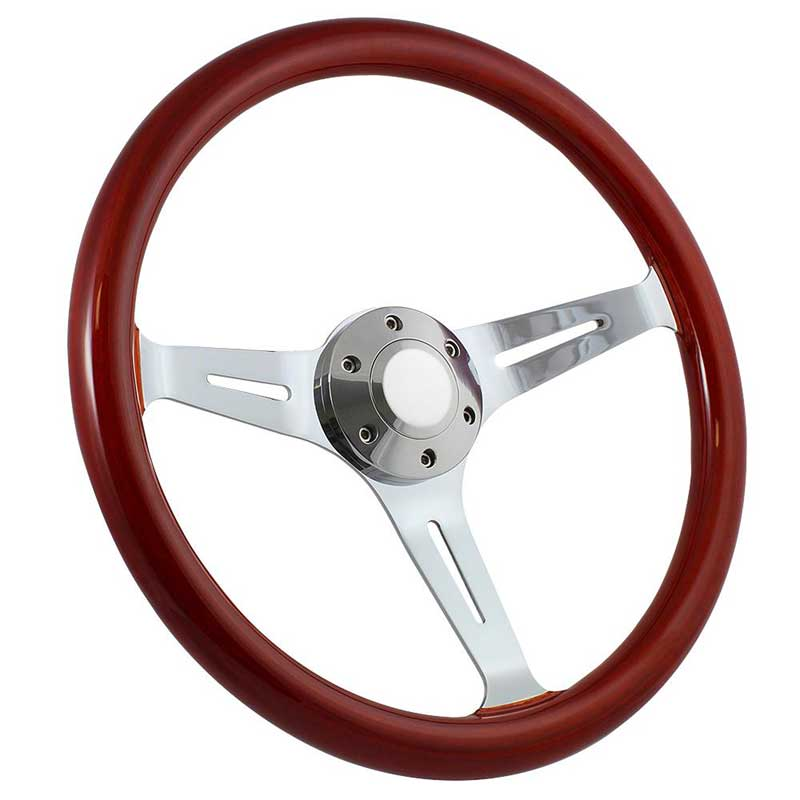Forever Sharp 14 6 Bolt Empire Wood Wheel - Chrome Spokes with Light Mahogany Wood